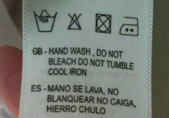 etiqueta de ropa mal traducida
