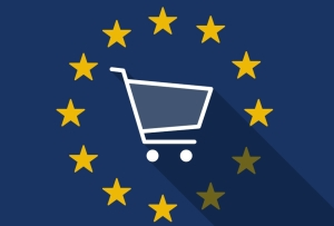 Illustration of an European Union long shadow flag with a shopping cart