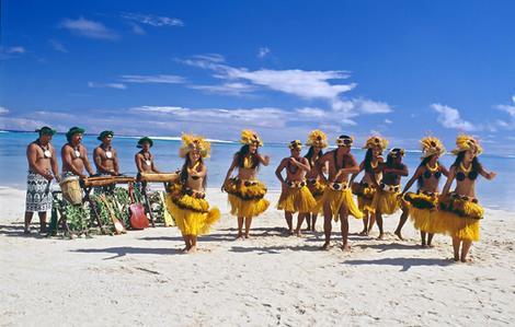 Cook islands. Traditional dancers on the beach. Supplied by Cookislands.travel